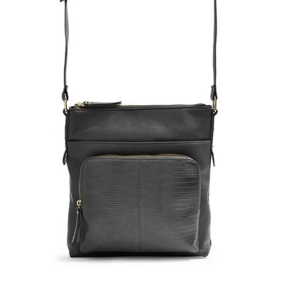 Black Pocket Messenger Crossbody Bag