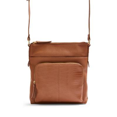 Tan Pocket Messenger Crossbody Bag