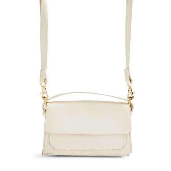 Ivory Top Handle Structured Crossbody Bag