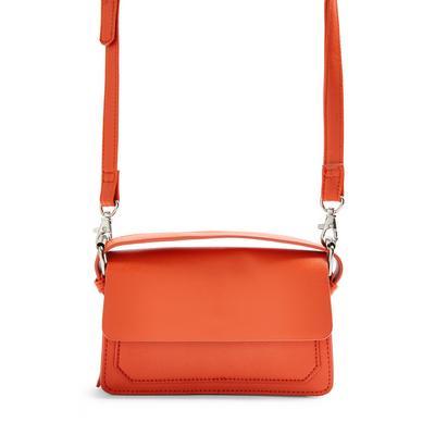 Orange Top Handle Structured Crossbody Bag