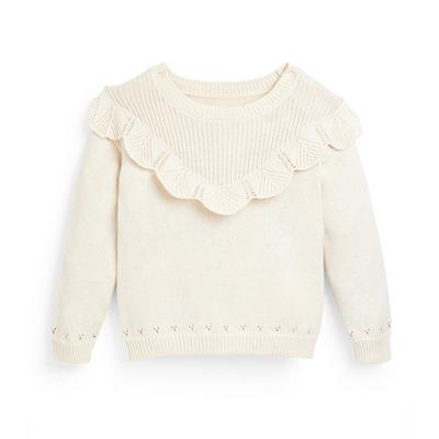 Younger Girl Ivory Knit Pointelle Jumper