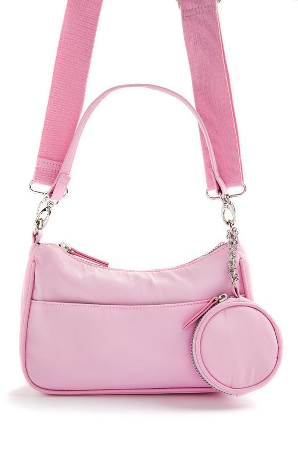 Rožnata torba za čez telo iz najlona 2-v-1