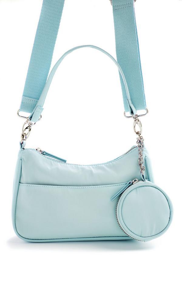 Blaue 2-in-1-Umhängetasche aus Nylon