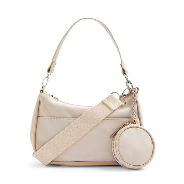 Cream Nylon 2-In-1 Crossbody Bag