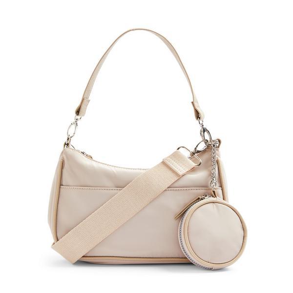 Ivory Nylon 2-In-1 Crossbody Bag