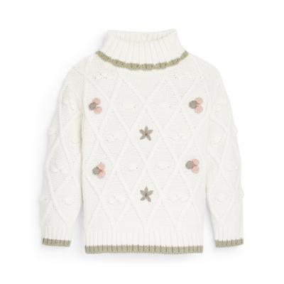 Younger Girl White Cable Knitted Roll Neck Jumper