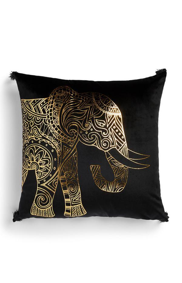 Schwarzes Kissen mit Elefanten-Foliendruck