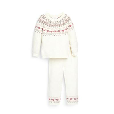 Younger Girl Ivory Fairisle Knitted Jumper Set