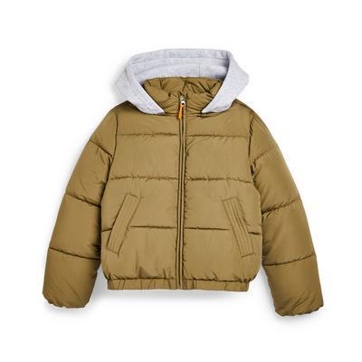 Older Girl Khaki Jersey Hooded Puffer Jacket