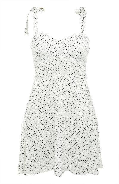 White Dot Print Strappy Skater Mini Dress