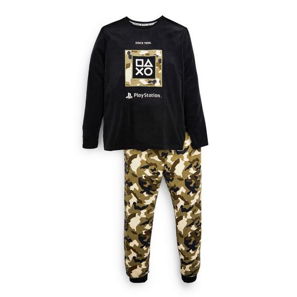 Pijama pelúcia Playstation padrão camuflado rapaz