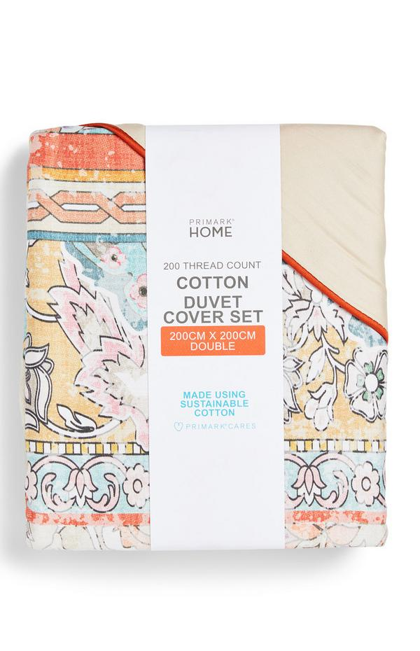 Conjunto capa edredão duplo casal estampado tapeçaria