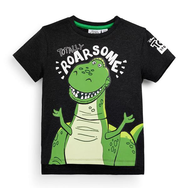 Younger Boy Black Flocked Toy Story Rex T-Shirt
