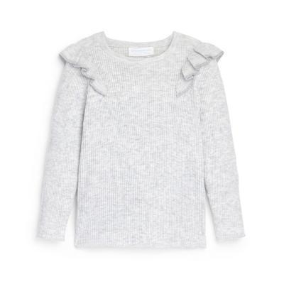Younger Girl Grey Knitted Frill Shoulder Jumper