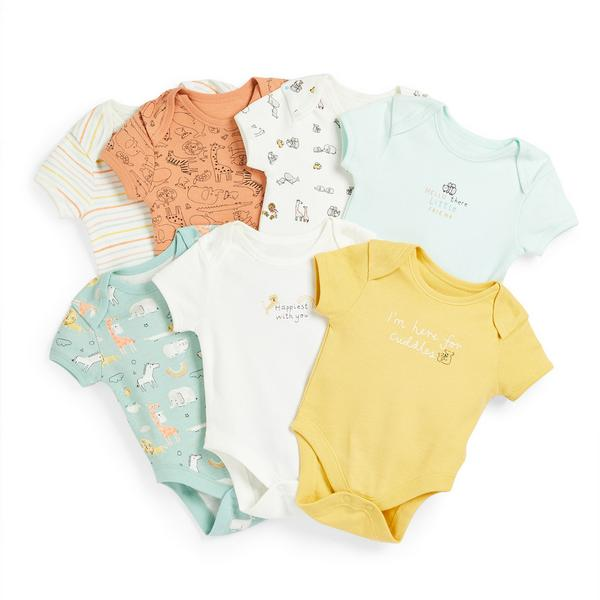 Newborn Baby Animal Print Bodysuits 7 Pack
