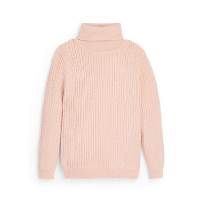 Younger Girl Pink Cable Knitted Roll Neck Jumper