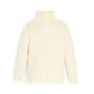 Younger Girl Ecru Cable Knit Roll Neck Jumper