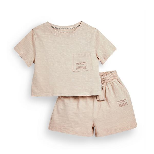 "Rosafarbenes, kurzes ""Earthcolors By Archroma"" Pyjama-Set aus Bio-Baumwolle (kleine Kinder)"