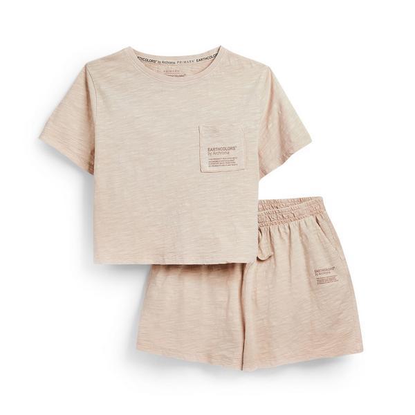 "Rosafarbenes, kurzes ""Earthcolors By Archroma"" Pyjama-Set aus Bio-Baumwolle (Teenys)"