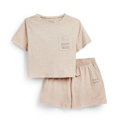 T-shirt e shorts color cipria Earthcolors By Archroma da ragazzo