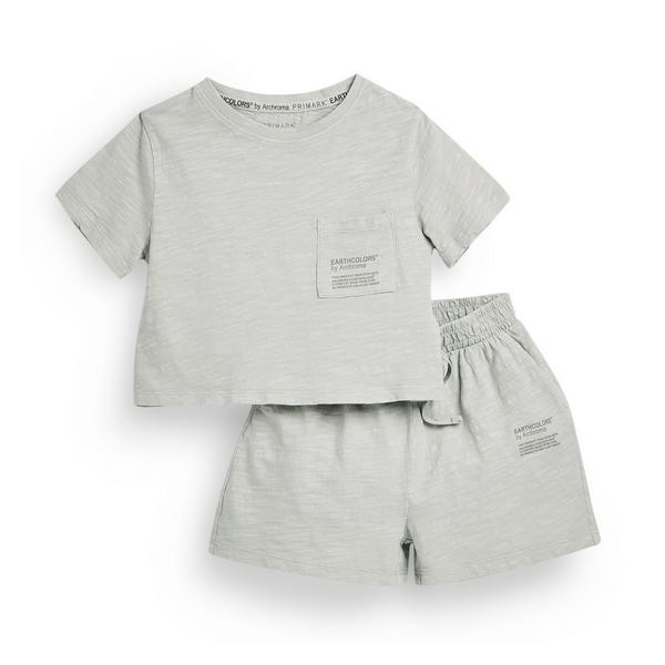 "Mintgrünes, kurzes ""Earthcolors By Archroma"" Pyjama-Set aus Bio-Baumwolle (kleine Kinder)"