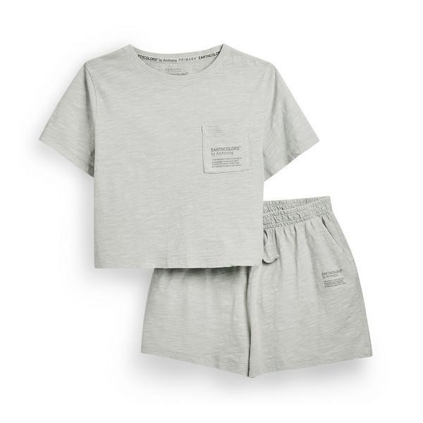"Mintgrünes, kurzes ""Earthcolors By Archroma"" Pyjama-Set aus Bio-Baumwolle (Teenys)"