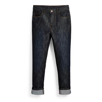 Donkerblauwe jeans met rolzoom voor jongens