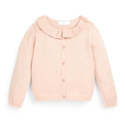 Younger Girl Blush Knit Frill Cardigan