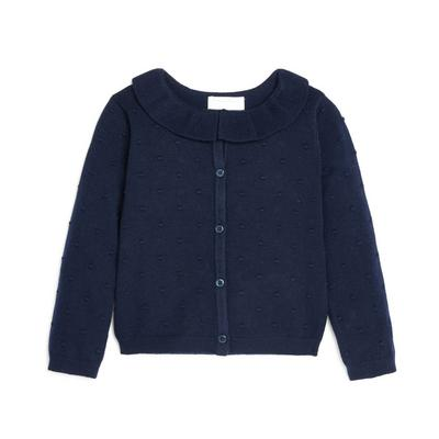 Younger Girl Navy Knitted Frill Collar Cardigan