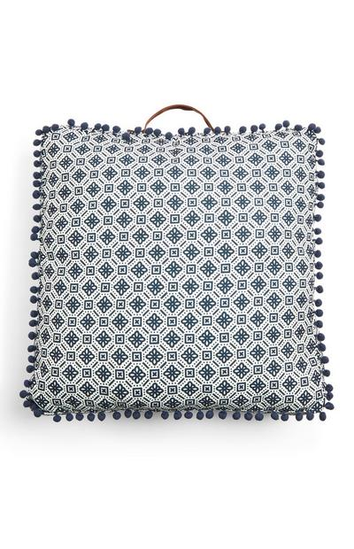 Blue Pattern Trimmed Square Outdoor Cushion