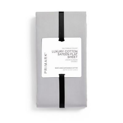 Lenzuolo matrimoniale in cotone satinato premium grigio 300 fili