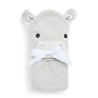 Grey Hippo Hooded Towel