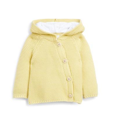 Geel vest met capuchon voor pasgeboren baby's