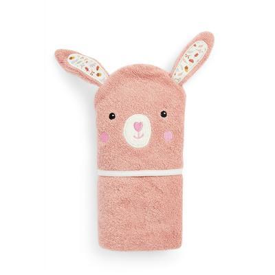 Baby Girl Pink Bunny Hooded Towel