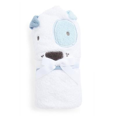 Baby Boy White Dog Print Hooded Towel