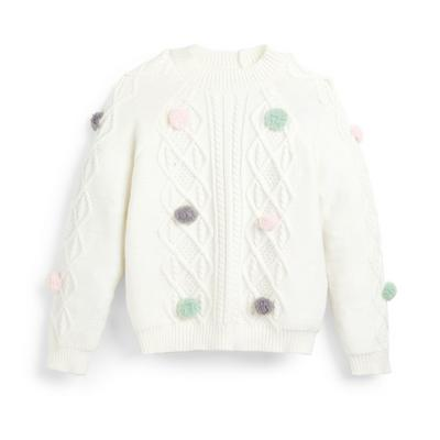 Younger Girl White Cable Knit Pom Jumper