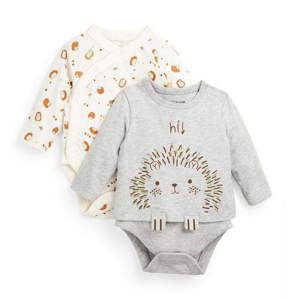 Newborn Baby Boy Hedgehog Print Bodysuits 2 Pack