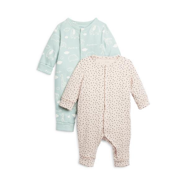 Gerippte Schlafanzüge für Neugeborene, 2er-Pack
