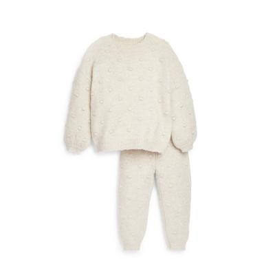 Younger Girl Ivory Bobble Joggers Set