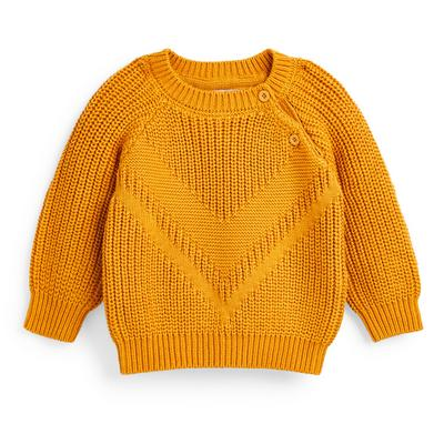 Baby Boy Mustard Yellow Raglan Knit Crew Neck Jumper