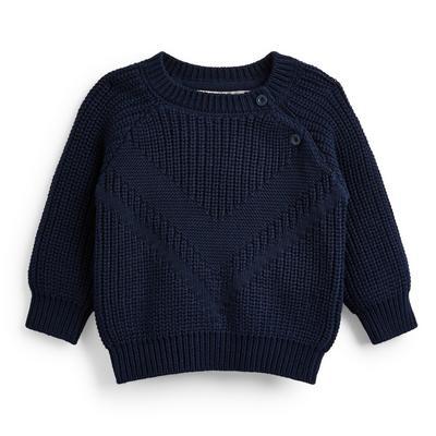 Baby Boy Navy Raglan Knit Crew Neck Jumper