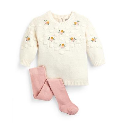 Baby Girl Ivory Embroidered Knit Dress And Tight Set