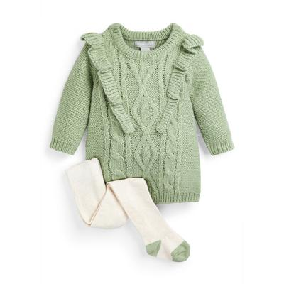 Baby Girl Green Cable Knit Dress And Tights Set