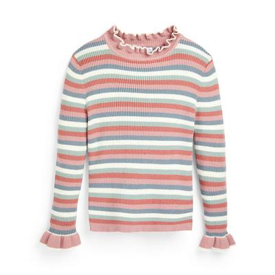 Younger Girl Striped Knit Frill Neck Jumper