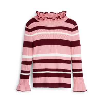 Younger Girl Pink Striped Frill Neck Jumper