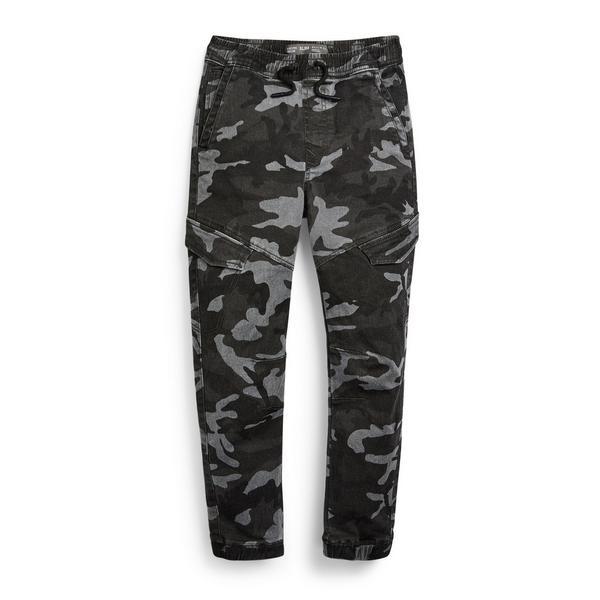 Pantaloni cargo antracite motivo mimetico da ragazzo