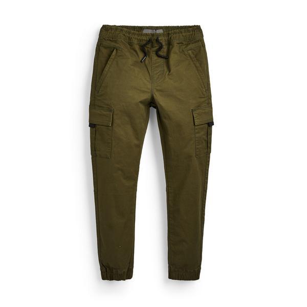 Pantaloni cargo kaki con zip da ragazzo
