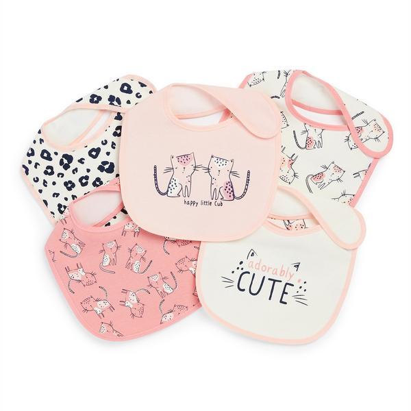 Baby Girl Cub Print Plastic Bibs 5 Pack