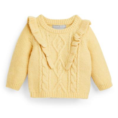 Baby Girl Yellow Cable Knit Sweater