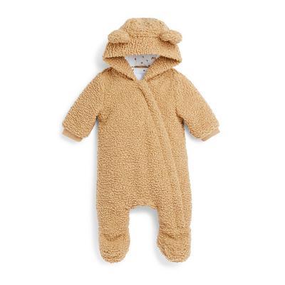 Newborn Baby Brown Teddy Snugglesuit